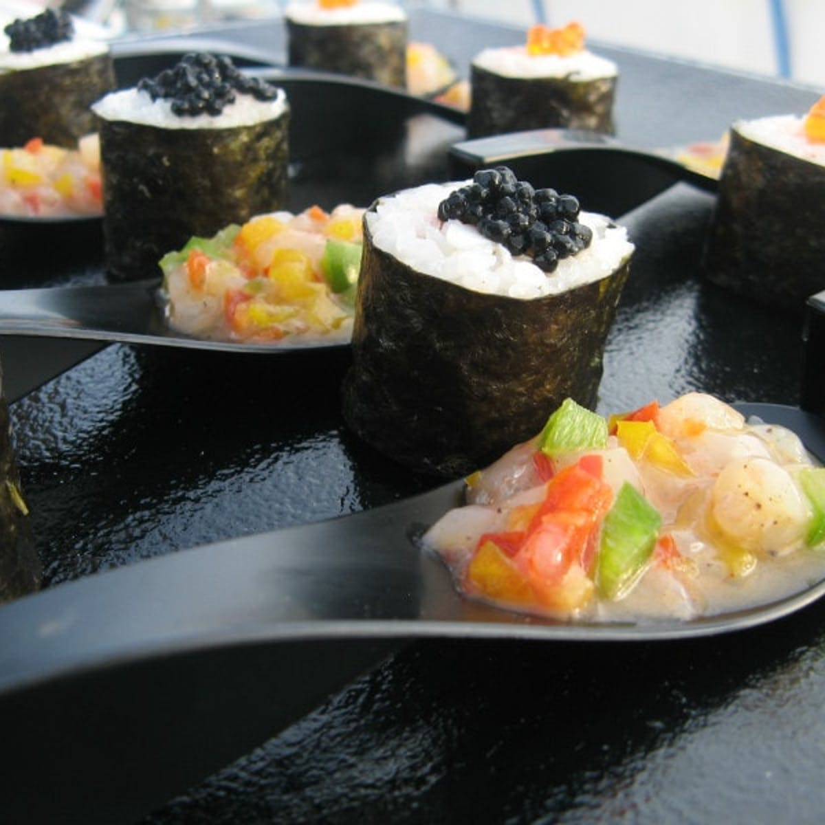 Sushi catering in Catamaran Orsom Barcelona