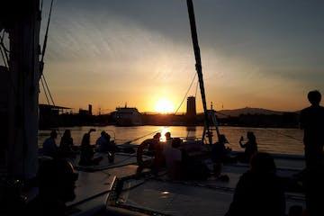 Sunset from Catamaran Orsom Barcelona