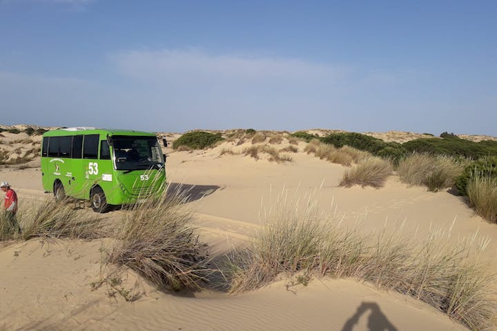 A bus in sand dunes