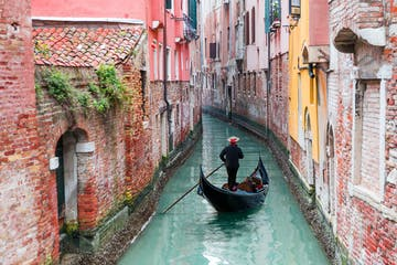gondola in tiny venice canal
