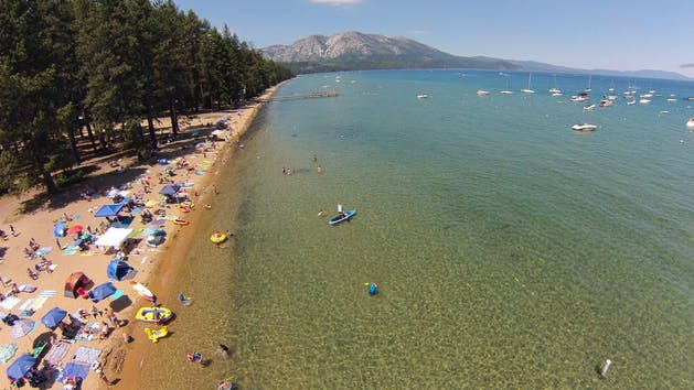 View of the beach and boats of Lake Tahoe
