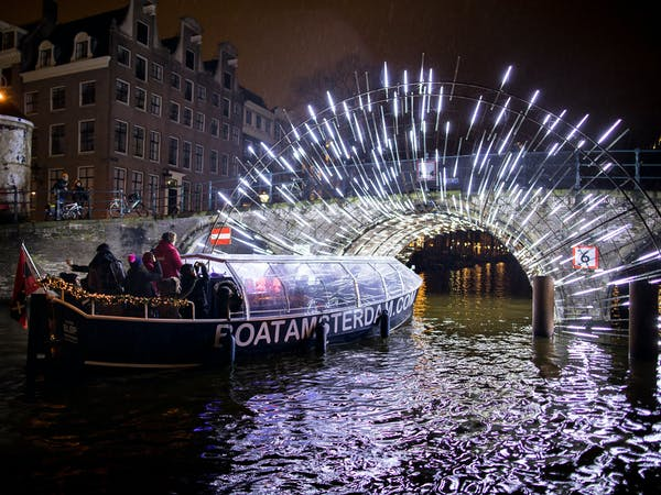 Canal cruise in Amsterdam Light Festival