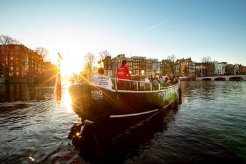 Enjoying sunset during our canal cruises