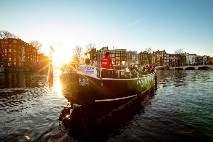 Enjoying sunset during our canal cruises