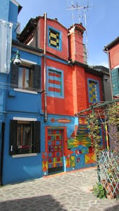 a close up of a colorful building