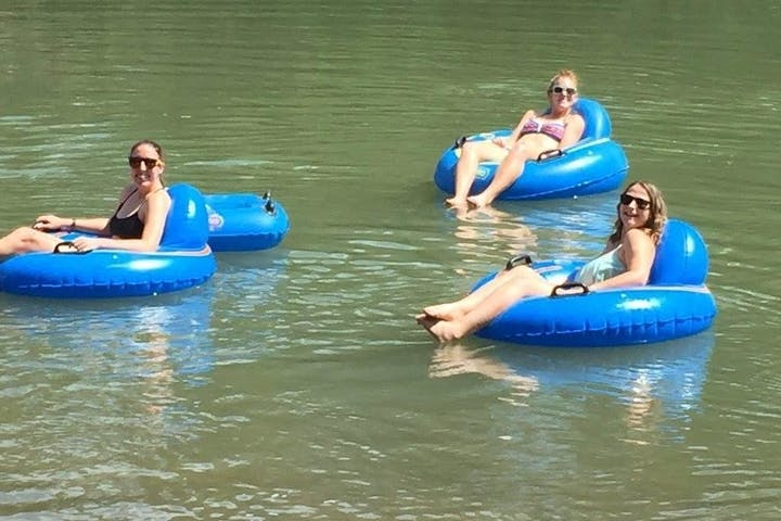 Three ladies enjoying a float on the river
