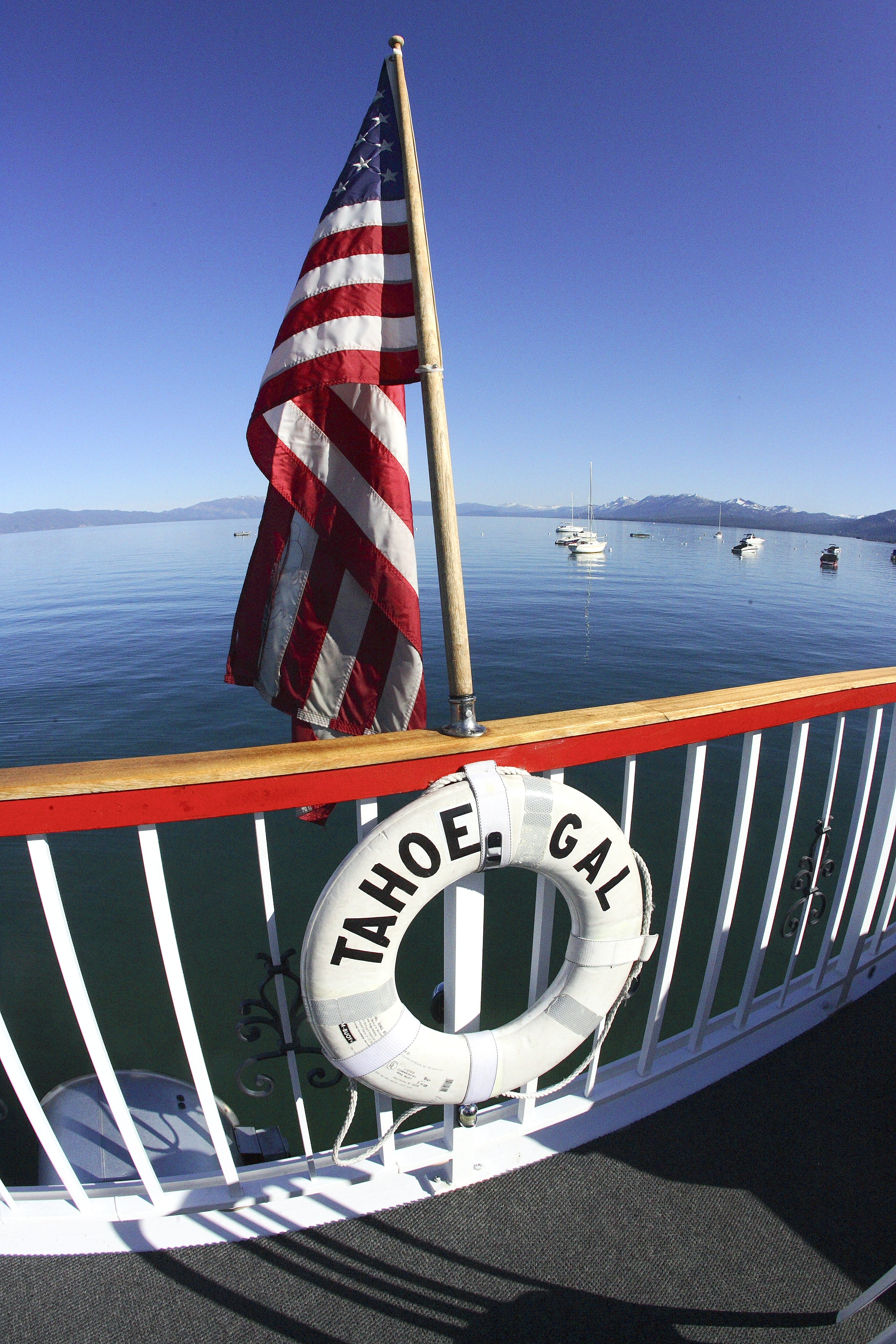 Tahoe Gal lifebuoy with American flag for Cruise Lake Tahoe