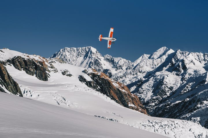 Ski plane flying over Mt Cook