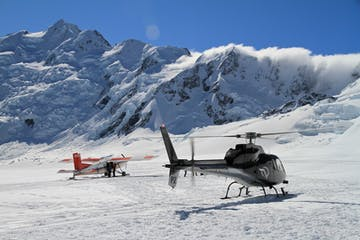 helicopter and ski plane