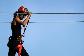 A woman on zip line
