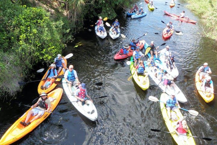 Group of kayakers paddling in Jupiter, FL