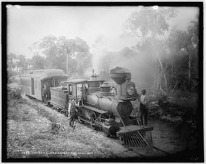 a vintage photo of a train on a track