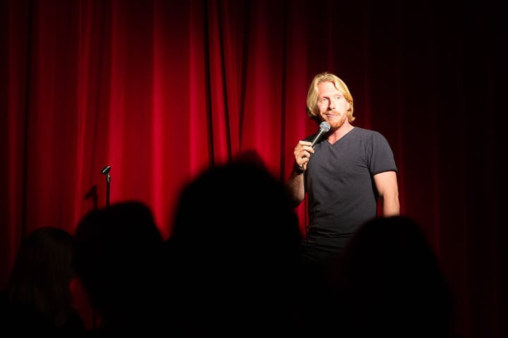 Comedian during a show in Comedy Cafe, Amsterdam