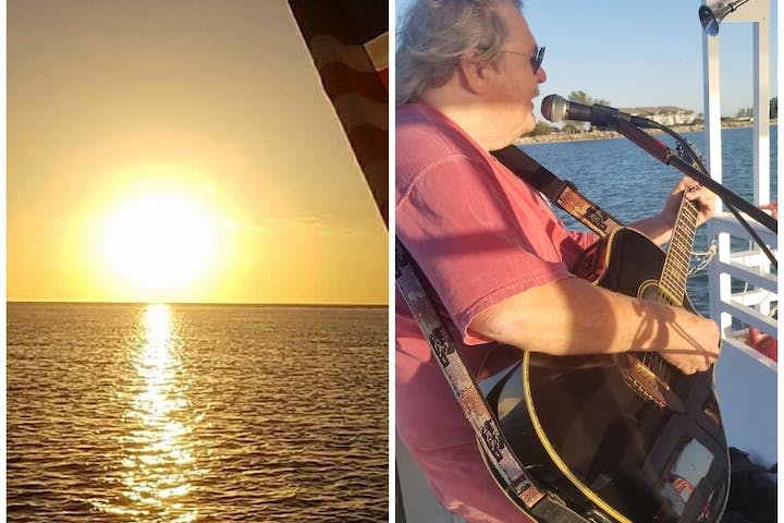 Guitarist jamming out on a boat