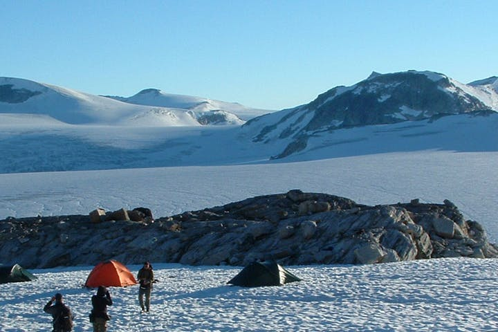 Tents on the snow in Styggevatnet