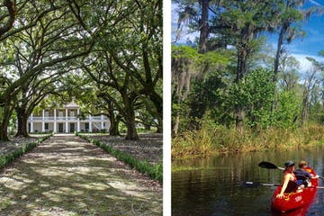 A photo collage of a plantation and two people kayaking