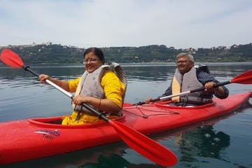 Couple in red kayaks