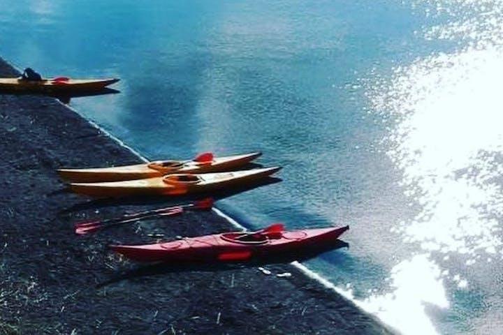 Kayaks on lake edge