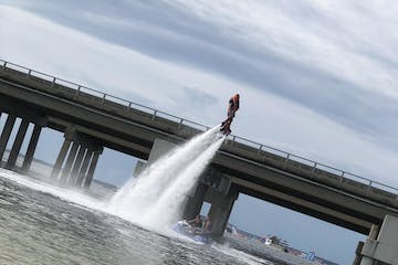 flyboarding over the water