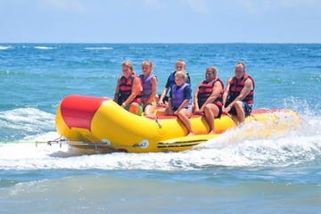 Large group on banana boat