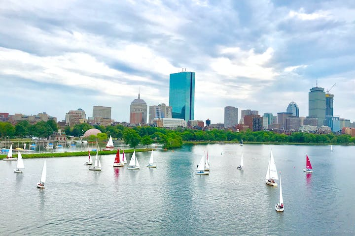 boston skyline and harbor with boats