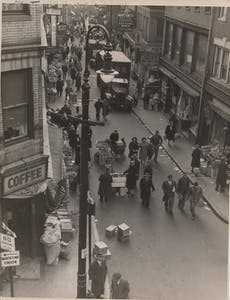 a vintage photo of a busy city street