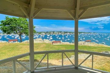 a bench overlooking the ocean