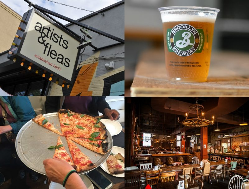 Clockwise from Top – Artists and Fleas shop, Beer sample at Brooklyn Brewery, Mables Smokehouse and Best Pizza, Brooklyn