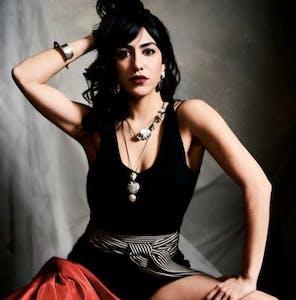 Fashionable woman posing during a photo shoot