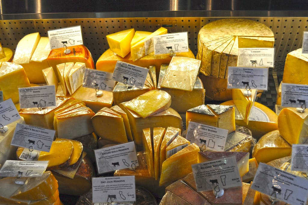Large amount of packaged speciality cheese