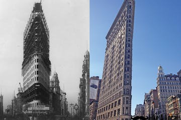Flatiron Building Under Construction and Today