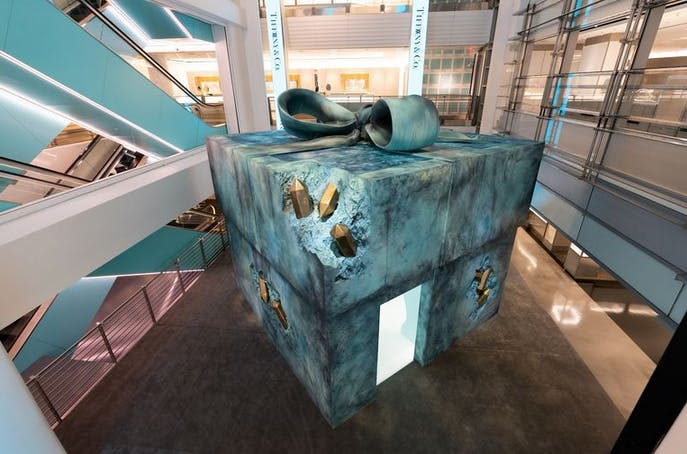 a giant box sculpture at tiffanys store