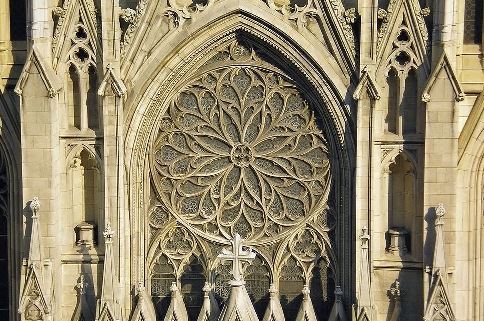 the rose window from the outside of st patricks cathedral