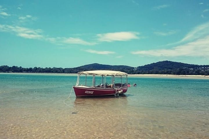 Luxury electric boat on noosa river