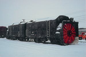 a train covered in snow