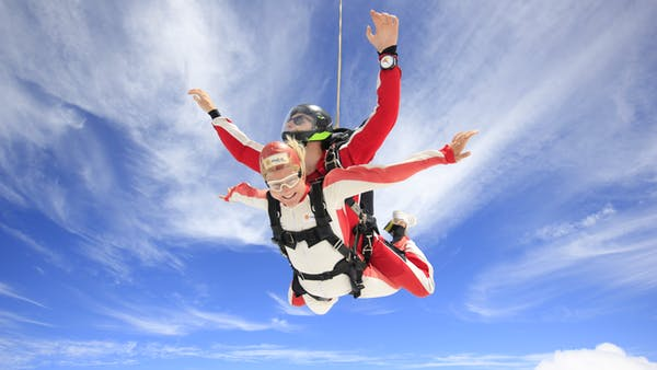 Two people enjoying a tandem skydive