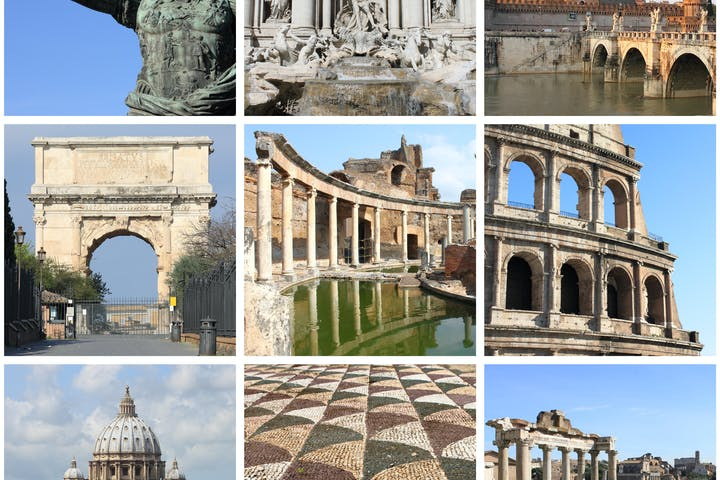 Multiple images of Rome famous sites Castel San Angelo