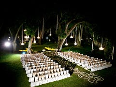 Chairs and chandeliers on Houmas House lawn