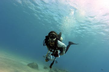 discover scuba diver in Honolulu Hawaii learning to dive with Pure Aloha Adventures