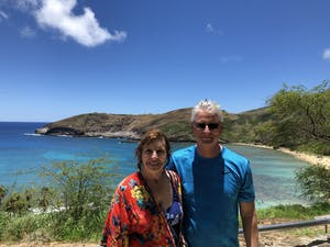 couple at Hanauma Bay with pure aloha adventures Hawaii