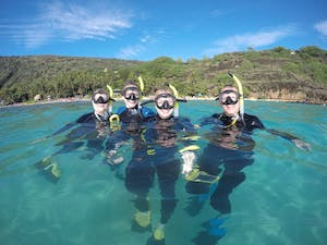 Group of 4 people snorkeling at Hanauma Bay with Pure Aloha Adventures in Oahu, Hawaii