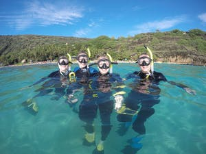 Group of 4 people snorkeling at Hanauma Bay with Pure Aloha Adventures in Oahu, Hawaii