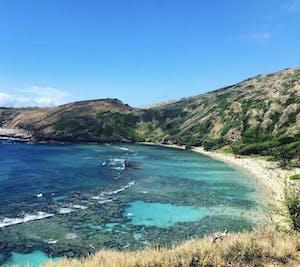overhead view of hanauma bay Hawaii