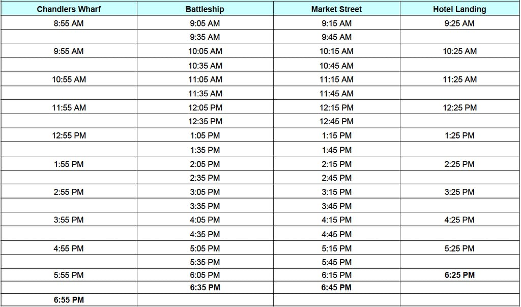 Bizzy Bee Water Taxi schedule and times