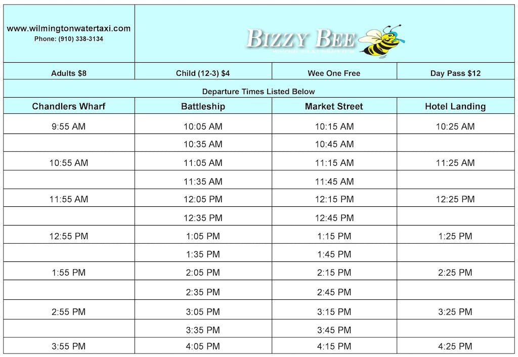 Water Taxi September May Schedule
