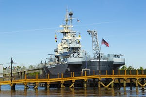 Battleship North Carolina as seen from the Cape Fear River