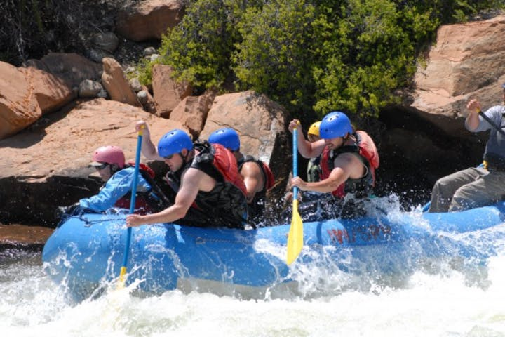 group rafting in river