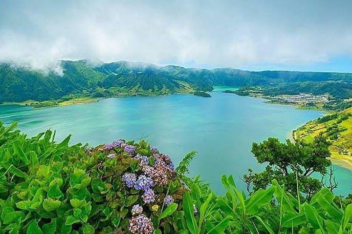 Sete Cidades lake with flowers