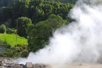 Steam coming from ground