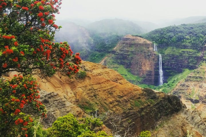 A beautiful scene of mountains, the jungle, and waterfall in the distance